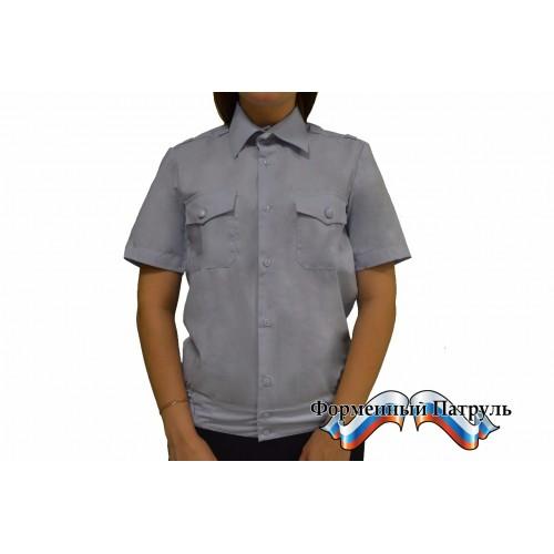 Рубашка МВД светло-голубая с коротким рукавом.