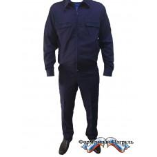 Костюм летний офисный МО с длинным рукавом (рип-стоп, синий)