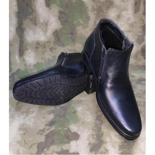 Ботинки зимние (код 081, нат кожа, чёрные)