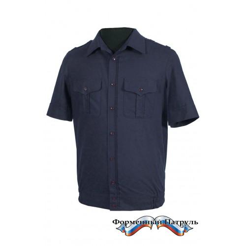 Рубашка МО с коротким рукавом (рип-стоп/вискоза, синяя)