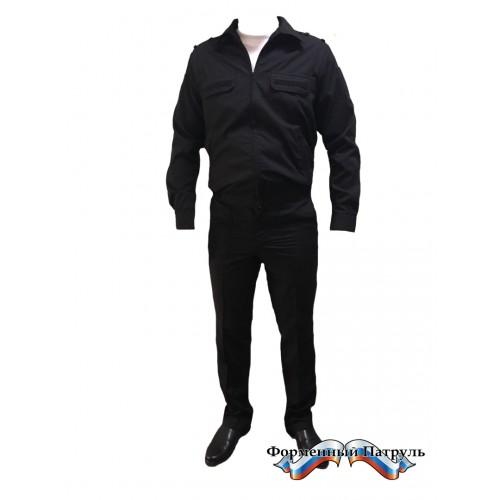 Костюм МО офисный мужской c длинным рукавом (рип-стоп/вискоза с п/э 175г/м2, чёрный)