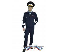 Костюм летний для сотрудников ДПС ГИБДД тёмно-синий (куртка + 2 брюк, ткань габардин)