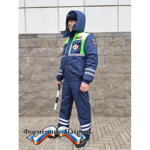 Костюм ДПС зимний с сигнальными вставками (мембрана Локкер, подкладка фольга, наполнитель холофайбер)