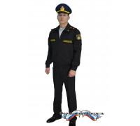 Костюм МО офисный мужской с длинным рукавом (габардин, подкладка сетка, цвет черный)