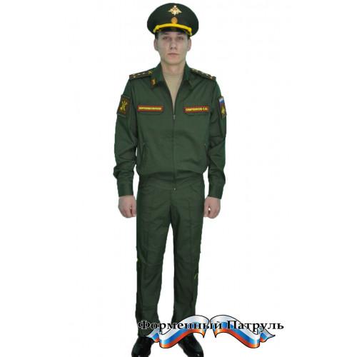 Костюм МО офисный мужской с длинным рукавом (ткань габардин, подкладка сетка, цвет зелёный)