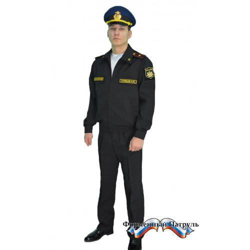 Костюм летний офисный МО с длинным рукавом (рип-стоп 240 г/м2, чёрный)