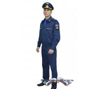 Костюм летний офисный МО с длинным рукавом (рип-стоп 240 г/м2, синий)