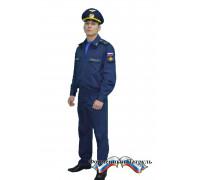 Костюм МО офисный мужской c длинным рукавом (рип-стоп/вискоза с п/э 175г/м2, синий)