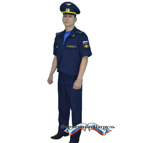 Костюм МО офисный мужской с коротким рукавом (рип-стоп/вискоза с п/э 175г/м2, синий)