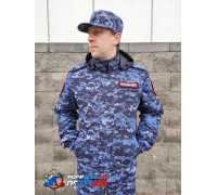 Куртка РОСГВАРДИЯ демисезонная укороченная (мембрана микро рип-стоп/стежка 100 г, цвет синяя точка)