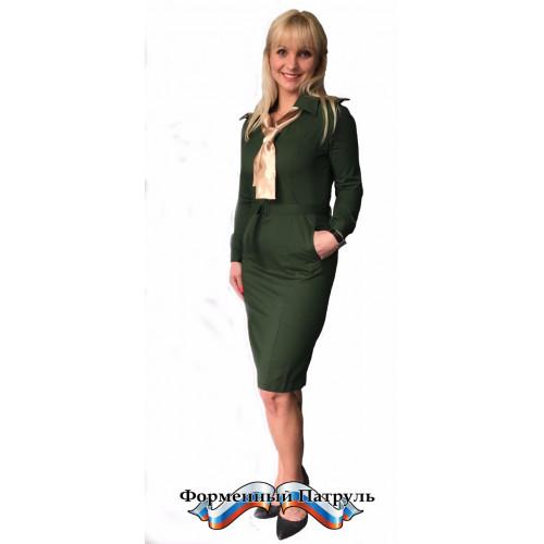 Платье МИНИСТЕРСТВО ОБОРОНЫ (цвет зелёный, ткань рип-стоп/вискоза)