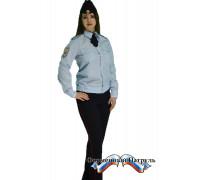 Рубашка МВД светло-голубая с длинным рукавом.